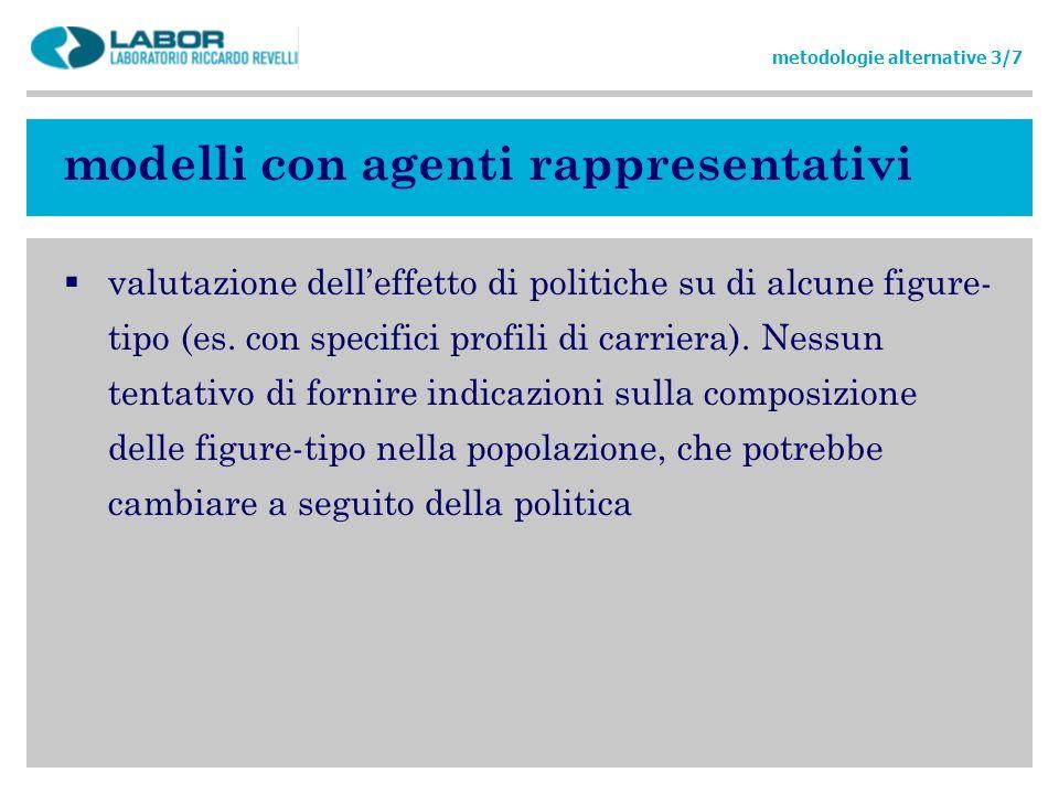 modelli con agenti rappresentativi valutazione delleffetto di politiche su di alcune figure- tipo (es. con specifici profili di carriera). Nessun tent