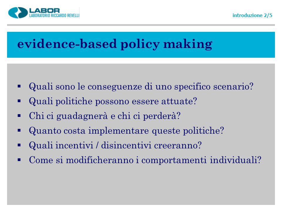 evidence-based policy making Quali sono le conseguenze di uno specifico scenario? Quali politiche possono essere attuate? Chi ci guadagnerà e chi ci p