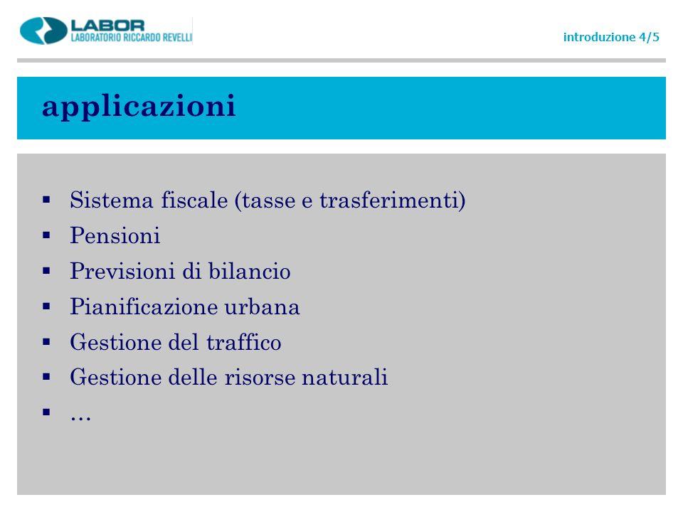 applicazioni Sistema fiscale (tasse e trasferimenti) Pensioni Previsioni di bilancio Pianificazione urbana Gestione del traffico Gestione delle risors