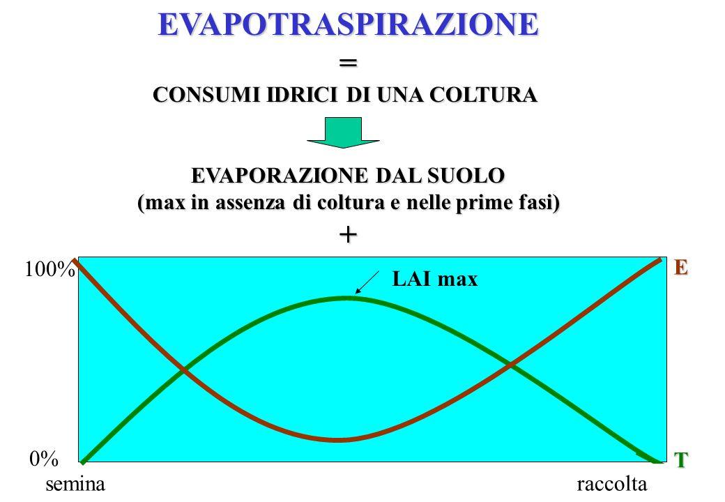 EVAPOTRASPIRAZIONE= CONSUMI IDRICI DI UNA COLTURA EVAPORAZIONE DAL SUOLO (max in assenza di coltura e nelle prime fasi) +TRASPIRAZIONE (max quando LAI
