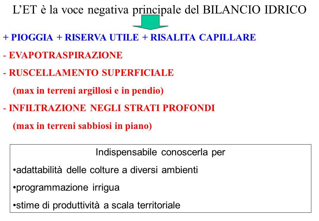 LET è la voce negativa principale del BILANCIO IDRICO + PIOGGIA + RISERVA UTILE + RISALITA CAPILLARE - EVAPOTRASPIRAZIONE - RUSCELLAMENTO SUPERFICIALE
