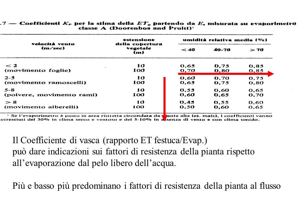 Il Coefficiente di vasca (rapporto ET festuca/Evap.) può dare indicazioni sui fattori di resistenza della pianta rispetto allevaporazione dal pelo lib