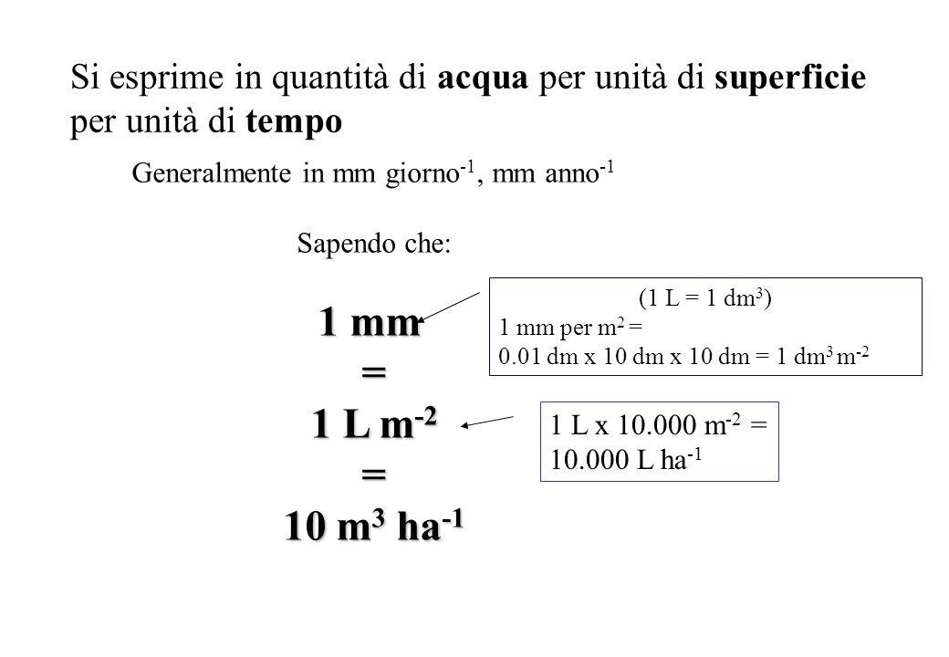 Si esprime in quantità di acqua per unità di superficie per unità di tempo Generalmente in mm giorno -1, mm anno -1 Sapendo che: 1 mm = 1 L m -2 = 10