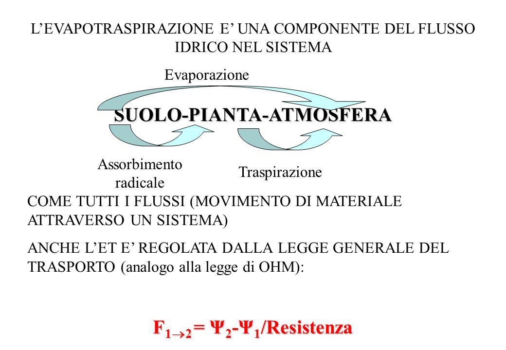 LEVAPOTRASPIRAZIONE E UNA COMPONENTE DEL FLUSSO IDRICO NEL SISTEMASUOLO-PIANTA-ATMOSFERA COME TUTTI I FLUSSI (MOVIMENTO DI MATERIALE ATTRAVERSO UN SIS