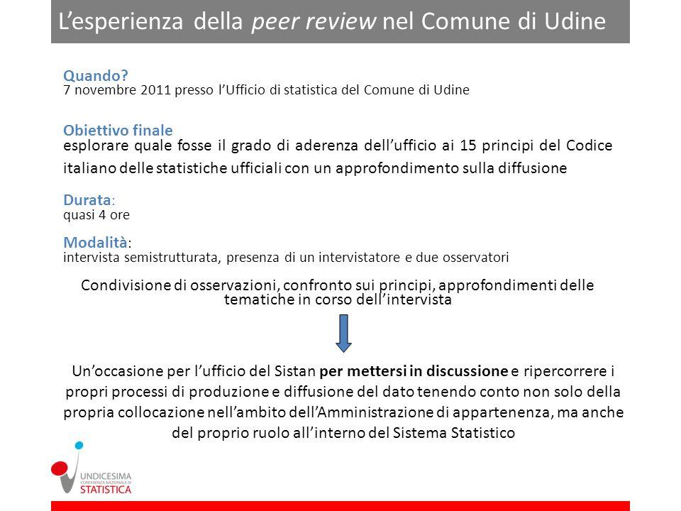 Lesperienza della peer review nel Comune di Udine Quando.
