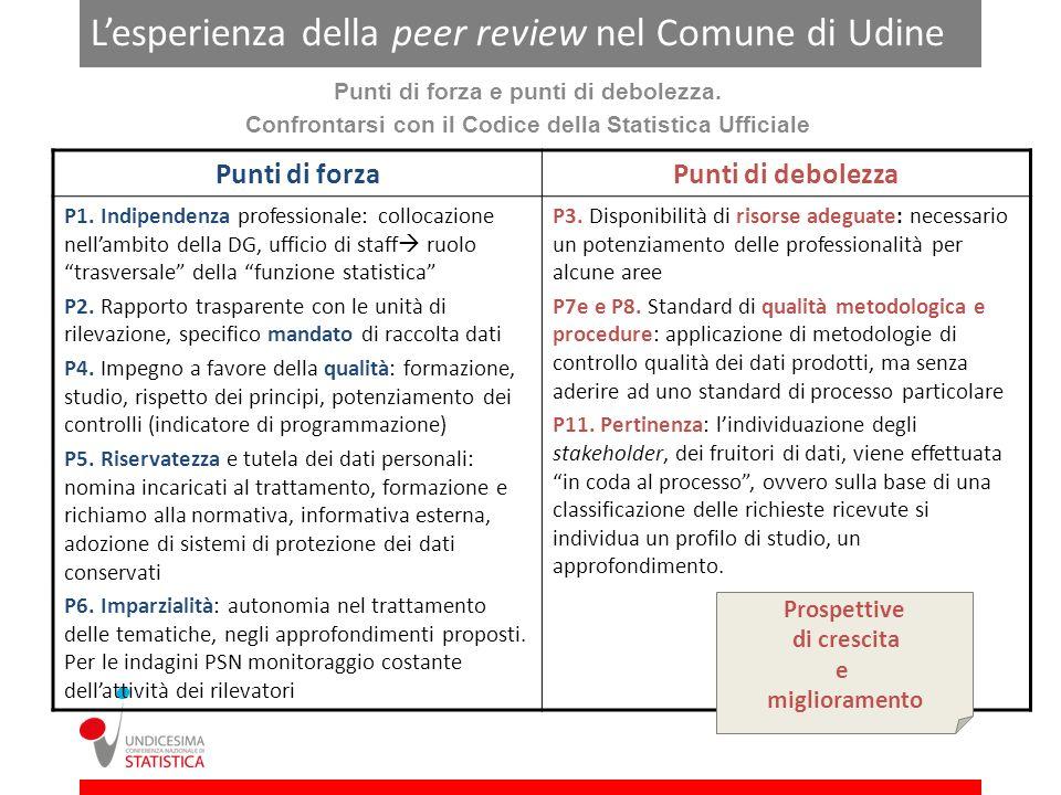 Lesperienza della peer review nel Comune di Udine Punti di forza e punti di debolezza.