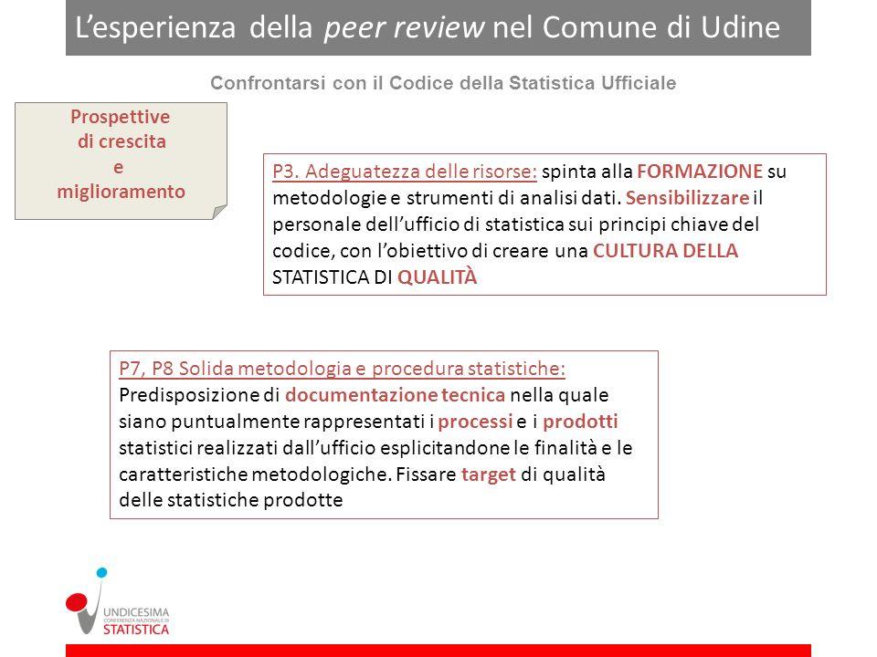 Lesperienza della peer review nel Comune di Udine Confrontarsi con il Codice della Statistica Ufficiale Prospettive di crescita e miglioramento P3.