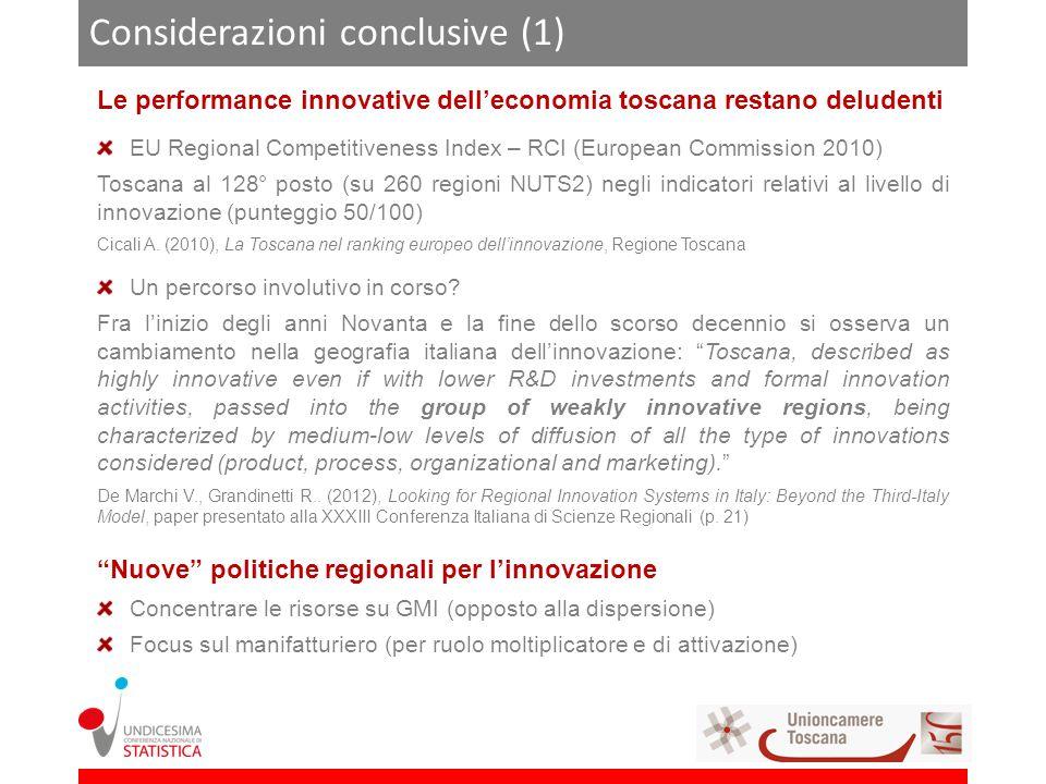 Considerazioni conclusive (1) Le performance innovative delleconomia toscana restano deludenti EU Regional Competitiveness Index – RCI (European Commission 2010) Toscana al 128° posto (su 260 regioni NUTS2) negli indicatori relativi al livello di innovazione (punteggio 50/100) Cicali A.
