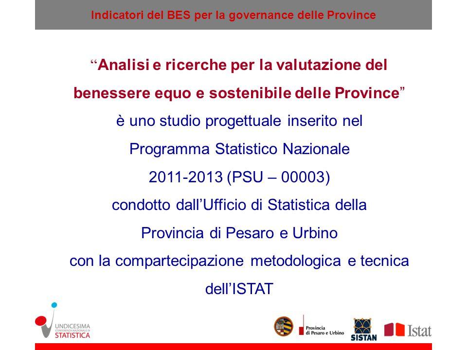 Indicatori del BES per la governance delle Province Analisi e ricerche per la valutazione del benessere equo e sostenibile delle Province è uno studio