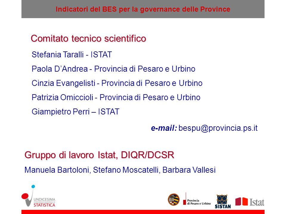 Indicatori del BES per la governance delle Province Comitato tecnico scientifico Stefania Taralli - ISTAT Paola DAndrea - Provincia di Pesaro e Urbino