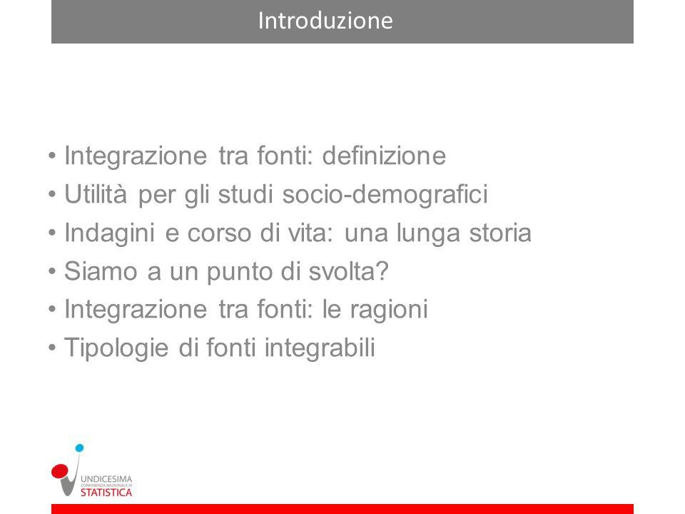 Introduzione Integrazione tra fonti: definizione Utilità per gli studi socio-demografici Indagini e corso di vita: una lunga storia Siamo a un punto di svolta.