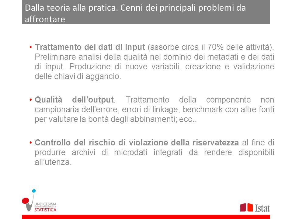 Dalla teoria alla pratica. Cenni dei principali problemi da affrontare Trattamento dei dati di input (assorbe circa il 70% delle attività). Preliminar