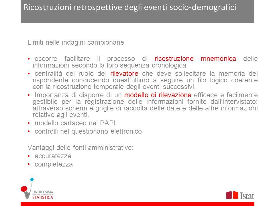 Ricostruzioni retrospettive degli eventi socio-demografici Limiti nelle indagini campionarie occorre facilitare il processo di ricostruzione mnemonica