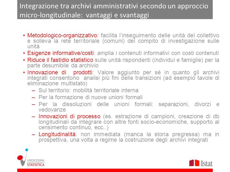Integrazione tra archivi amministrativi secondo un approccio micro-longitudinale: vantaggi e svantaggi Metodologico-organizzativo: facilita linseguime