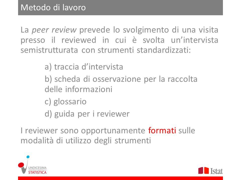 Metodo di lavoro La peer review prevede lo svolgimento di una visita presso il reviewed in cui è svolta unintervista semistrutturata con strumenti sta