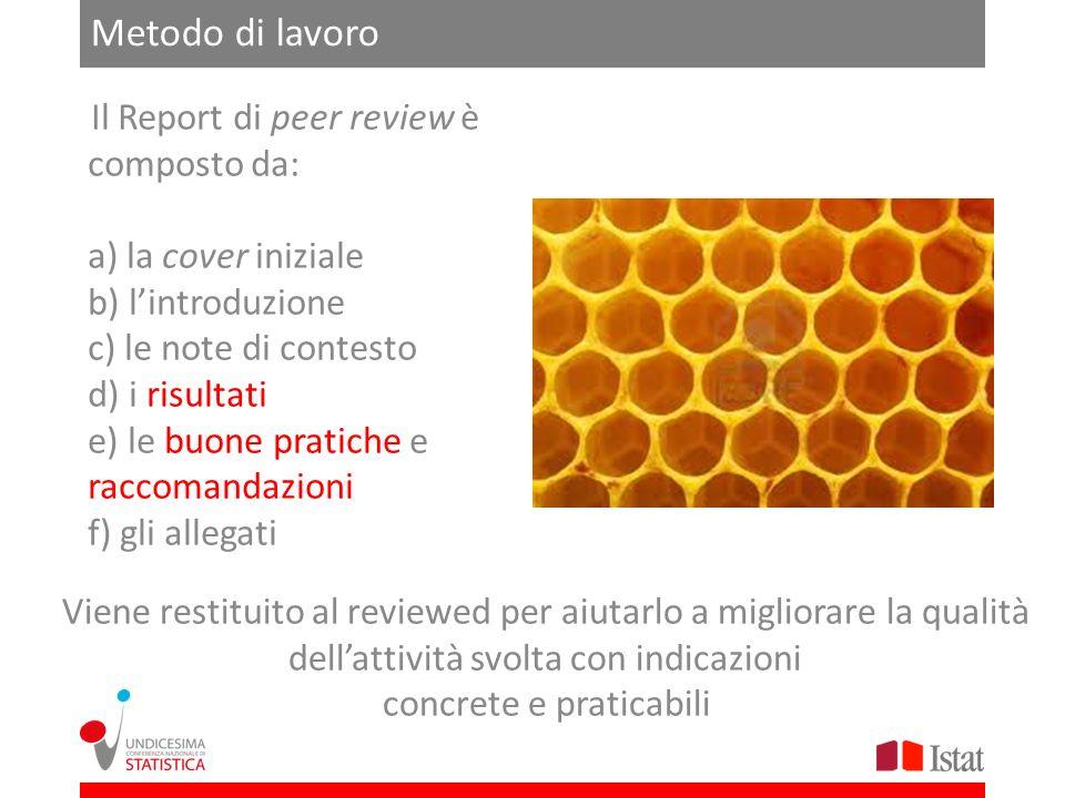 Metodo di lavoro Viene restituito al reviewed per aiutarlo a migliorare la qualità dellattività svolta con indicazioni concrete e praticabili Il Repor