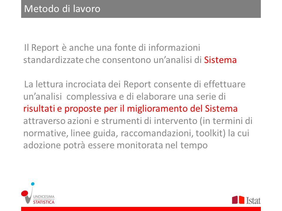 Metodo di lavoro Il Report è anche una fonte di informazioni standardizzate che consentono unanalisi di Sistema La lettura incrociata dei Report conse