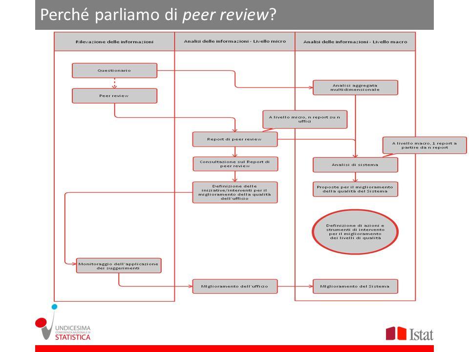 Risultati (preliminari) del 2012 La campagna di peer review realizzata nel 2012 ha coinvolto 55 Enti: a) 38 sul territorio (campione ragionato) b) 17 Autorità statistiche nazionali (su suggerimento del Comstat)