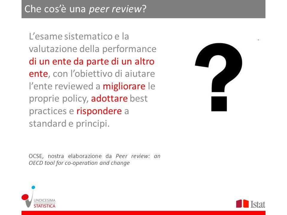 Che cosè una peer review? Lesame sistematico e la valutazione della performance di un ente da parte di un altro ente, con lobiettivo di aiutare lente