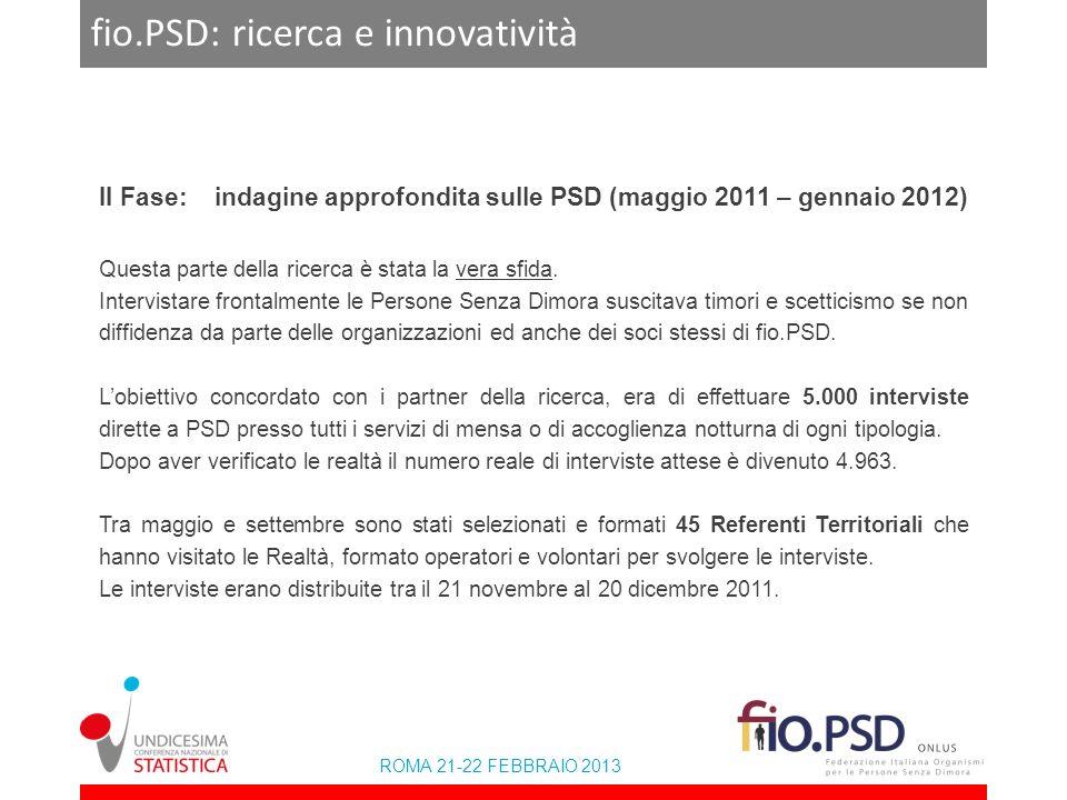 ROMA 21-22 FEBBRAIO 2013 fio.PSD: ricerca e innovatività II Fase: indagine approfondita sulle PSD (maggio 2011 – gennaio 2012) Questa parte della rice