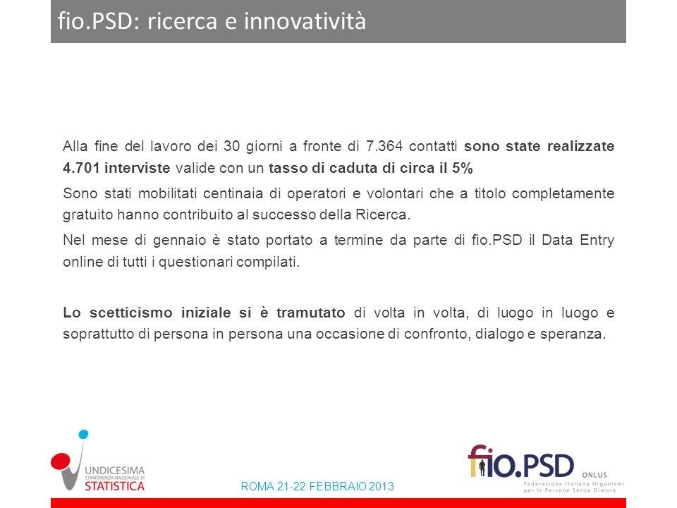 ROMA 21-22 FEBBRAIO 2013 fio.PSD: ricerca e innovatività Alla fine del lavoro dei 30 giorni a fronte di 7.364 contatti sono state realizzate 4.701 int