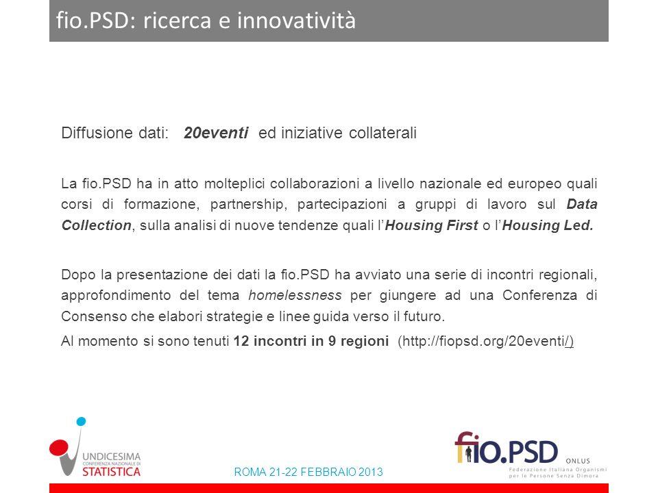 ROMA 21-22 FEBBRAIO 2013 fio.PSD: ricerca e innovatività Diffusione dati: 20eventi ed iniziative collaterali La fio.PSD ha in atto molteplici collabor