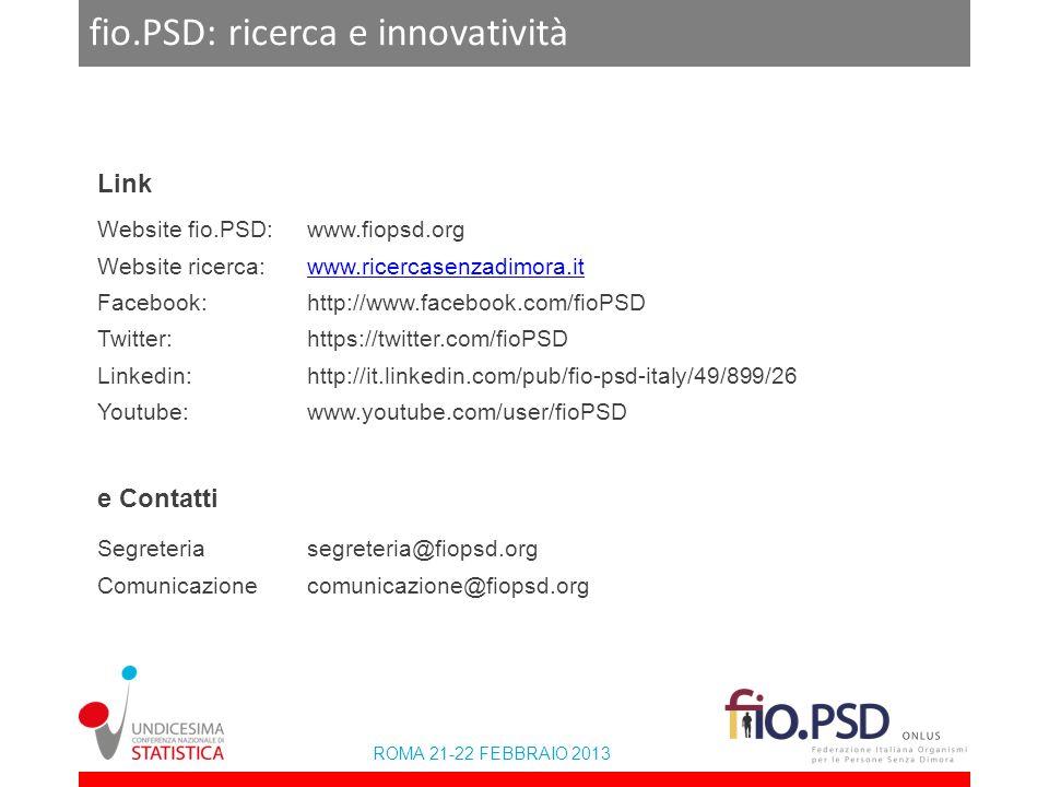 ROMA 21-22 FEBBRAIO 2013 fio.PSD: ricerca e innovatività Link Website fio.PSD:www.fiopsd.org Website ricerca:www.ricercasenzadimora.itwww.ricercasenza