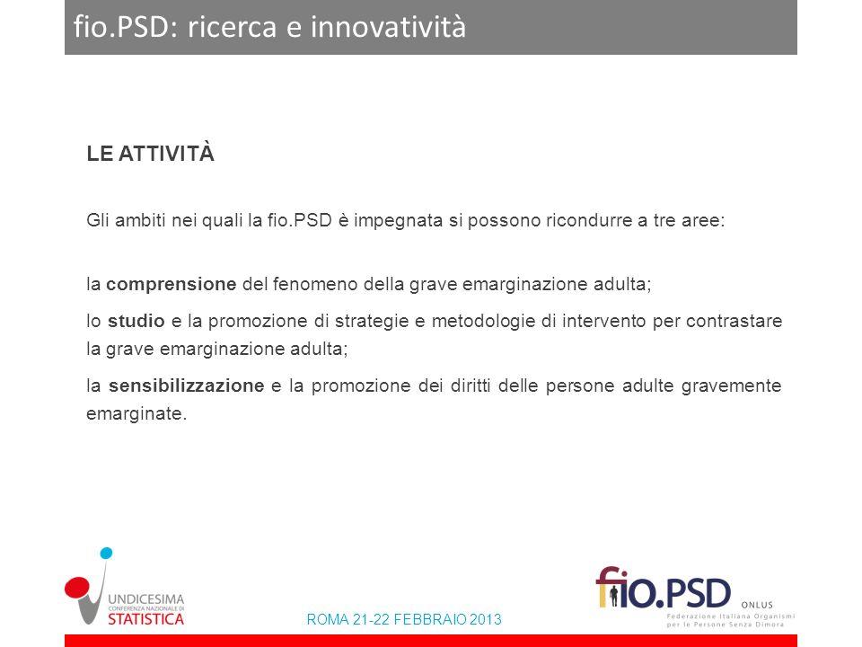 ROMA 21-22 FEBBRAIO 2013 fio.PSD: ricerca e innovatività LE ATTIVITÀ Gli ambiti nei quali la fio.PSD è impegnata si possono ricondurre a tre aree: la