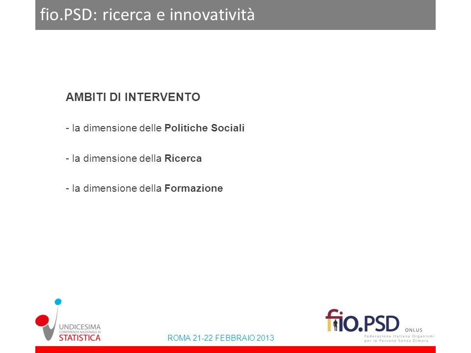 ROMA 21-22 FEBBRAIO 2013 fio.PSD: ricerca e innovatività AMBITI DI INTERVENTO - la dimensione delle Politiche Sociali - la dimensione della Ricerca - la dimensione della Formazione
