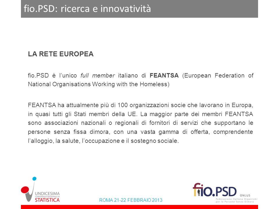 ROMA 21-22 FEBBRAIO 2013 fio.PSD: ricerca e innovatività LA RETE EUROPEA fio.PSD è lunico full member italiano di FEANTSA (European Federation of Nati
