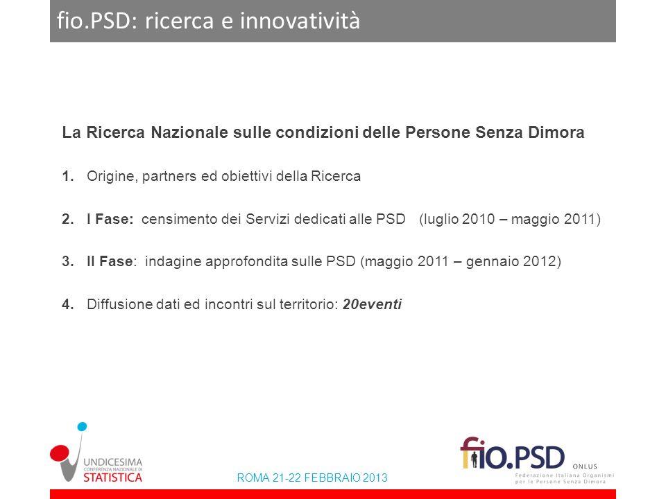 ROMA 21-22 FEBBRAIO 2013 fio.PSD: ricerca e innovatività La Ricerca Nazionale sulle condizioni delle Persone Senza Dimora 1. Origine, partners ed obie