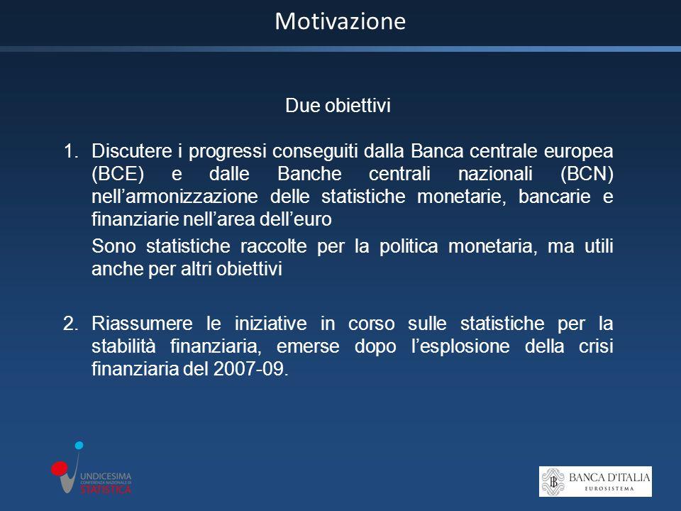 Motivazione Due obiettivi 1.Discutere i progressi conseguiti dalla Banca centrale europea (BCE) e dalle Banche centrali nazionali (BCN) nellarmonizzazione delle statistiche monetarie, bancarie e finanziarie nellarea delleuro Sono statistiche raccolte per la politica monetaria, ma utili anche per altri obiettivi 2.Riassumere le iniziative in corso sulle statistiche per la stabilità finanziaria, emerse dopo lesplosione della crisi finanziaria del 2007-09.