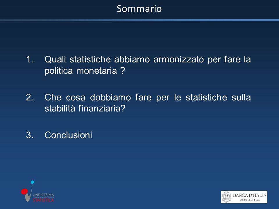 Sommario 1.Quali statistiche abbiamo armonizzato per fare la politica monetaria .