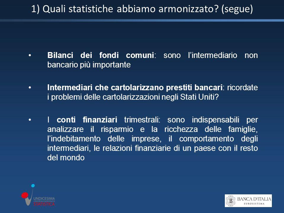 1) Quali statistiche abbiamo armonizzato.