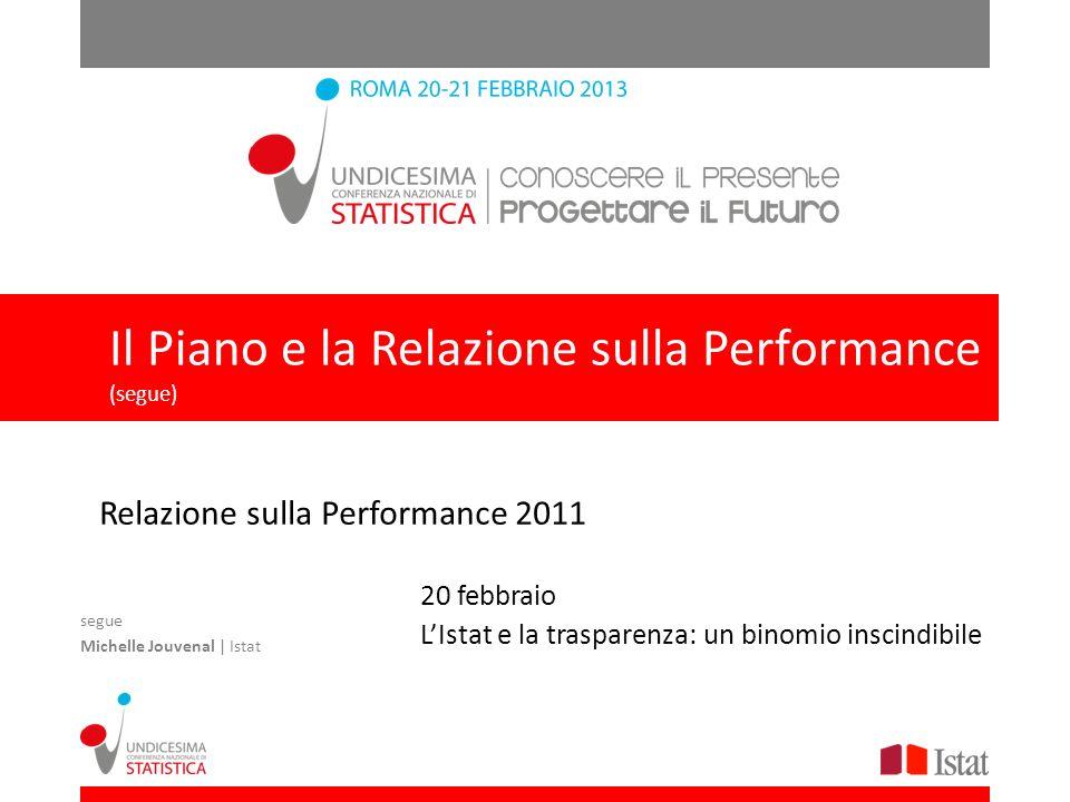 Il Piano e la Relazione sulla Performance Relazione sulla Performance 2011 20 febbraio LIstat e la trasparenza: un binomio inscindibile segue Michelle Jouvenal | Istat Il Piano e la Relazione sulla Performance (segue)