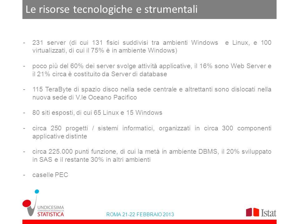 ROMA 21-22 FEBBRAIO 2013 Le risorse tecnologiche e strumentali -231 server (di cui 131 fisici suddivisi tra ambienti Windows e Linux, e 100 virtualizzati, di cui il 75% è in ambiente Windows) -poco più del 60% dei server svolge attività applicative, il 16% sono Web Server e il 21% circa è costituito da Server di database -115 TeraByte di spazio disco nella sede centrale e altrettanti sono dislocati nella nuova sede di V.le Oceano Pacifico -80 siti esposti, di cui 65 Linux e 15 Windows -circa 250 progetti / sistemi informatici, organizzati in circa 300 componenti applicative distinte -circa 225.000 punti funzione, di cui la metà in ambiente DBMS, il 20% sviluppato in SAS e il restante 30% in altri ambienti -caselle PEC
