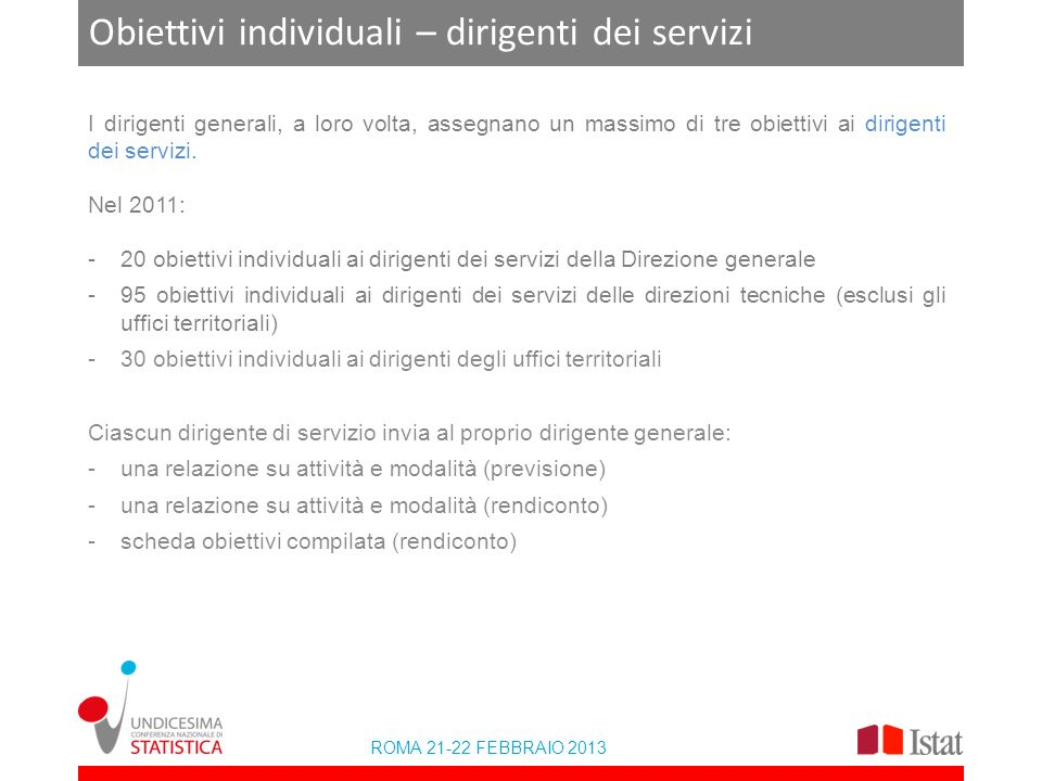 ROMA 21-22 FEBBRAIO 2013 Obiettivi individuali – dirigenti dei servizi I dirigenti generali, a loro volta, assegnano un massimo di tre obiettivi ai dirigenti dei servizi.