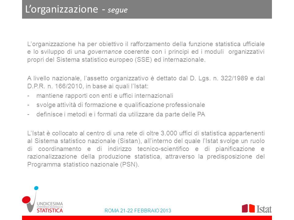 ROMA 21-22 FEBBRAIO 2013 Lorganizzazione - segue Lorganizzazione ha per obiettivo il rafforzamento della funzione statistica ufficiale e lo sviluppo di una governance coerente con i principi ed i moduli organizzativi propri del Sistema statistico europeo (SSE) ed internazionale.
