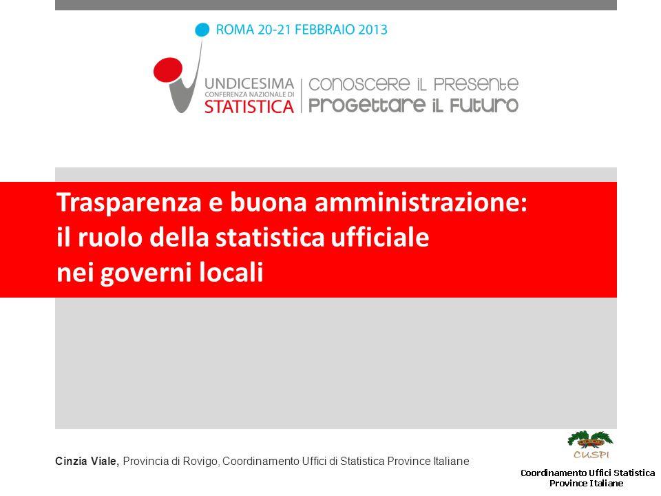 Trasparenza e buona amministrazione: il ruolo della statistica ufficiale nei governi locali Cinzia Viale, Provincia di Rovigo, Coordinamento Uffici di Statistica Province Italiane