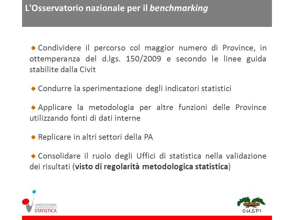 L Osservatorio nazionale per il benchmarking Condividere il percorso col maggior numero di Province, in ottemperanza del d.lgs.