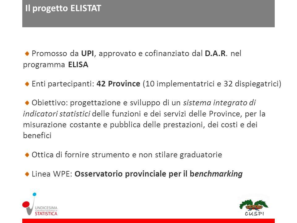 Il progetto ELISTAT Promosso da UPI, approvato e cofinanziato dal D.A.R.