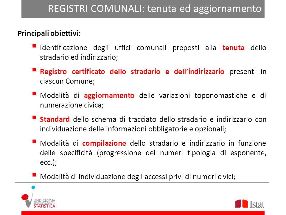 DIZIONARI: specie e denominazione Principali obiettivi: Identificazione e definizioni delle componenti di cui lindirizzo dovrà essere costituito; Dizi