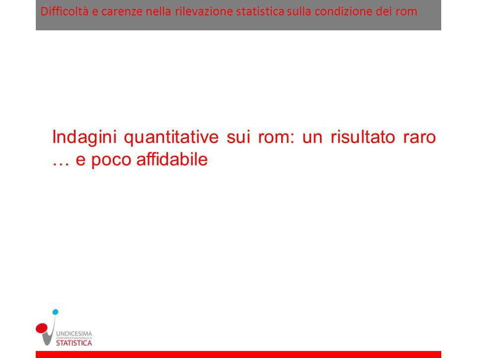 Difficoltà e carenze nella rilevazione statistica sulla condizione dei rom Art.