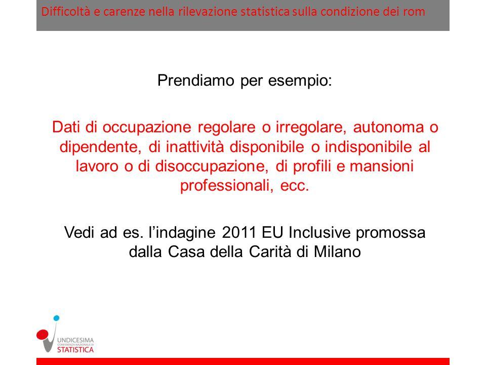 Difficoltà e carenze nella rilevazione statistica sulla condizione dei rom Prendiamo per esempio: Dati di occupazione regolare o irregolare, autonoma