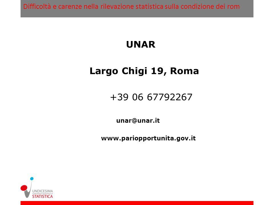 Difficoltà e carenze nella rilevazione statistica sulla condizione dei rom UNAR Largo Chigi 19, Roma +39 06 67792267 unar@unar.it www.pariopportunita.