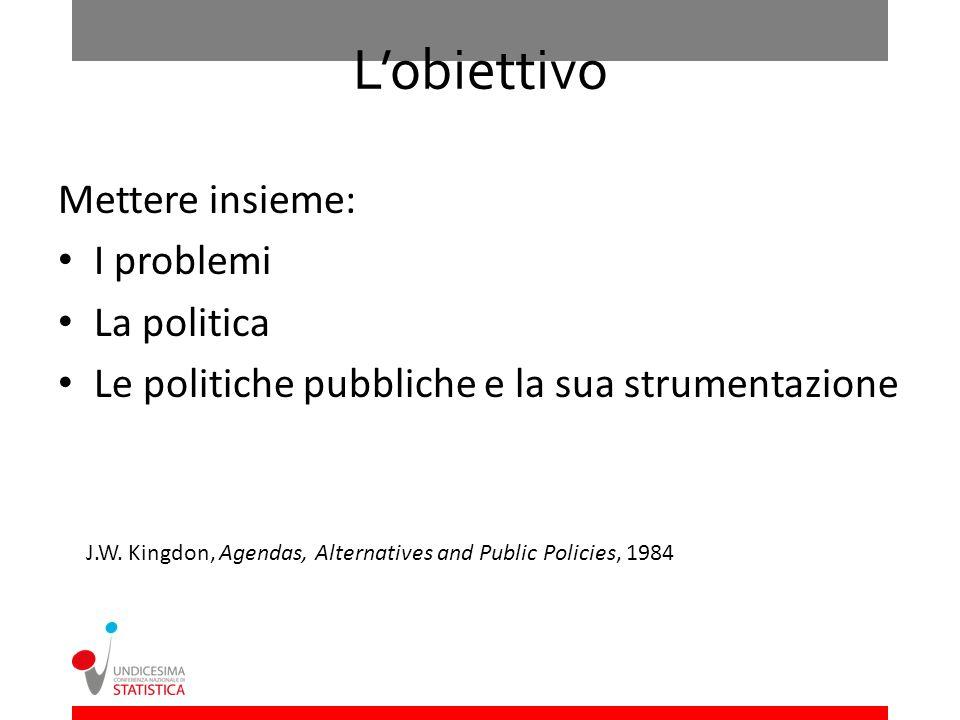 Lobiettivo Mettere insieme: I problemi La politica Le politiche pubbliche e la sua strumentazione J.W. Kingdon, Agendas, Alternatives and Public Polic