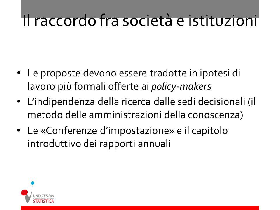 Il raccordo fra società e istituzioni Le proposte devono essere tradotte in ipotesi di lavoro più formali offerte ai policy-makers Lindipendenza della