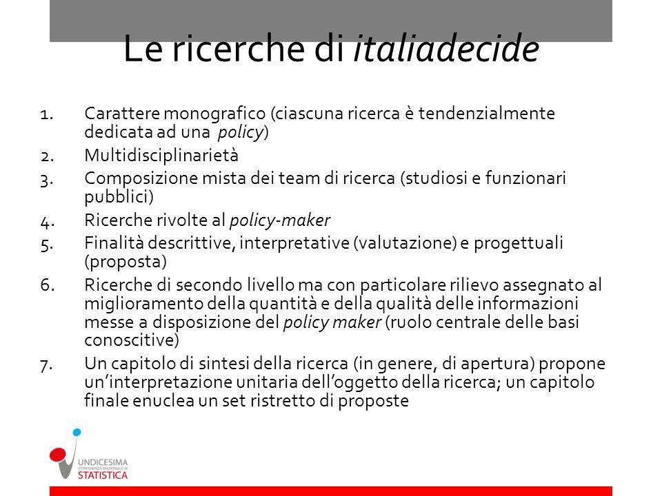 Le ricerche di italiadecide 1.Carattere monografico (ciascuna ricerca è tendenzialmente dedicata ad una policy) 2.Multidisciplinarietà 3.Composizione