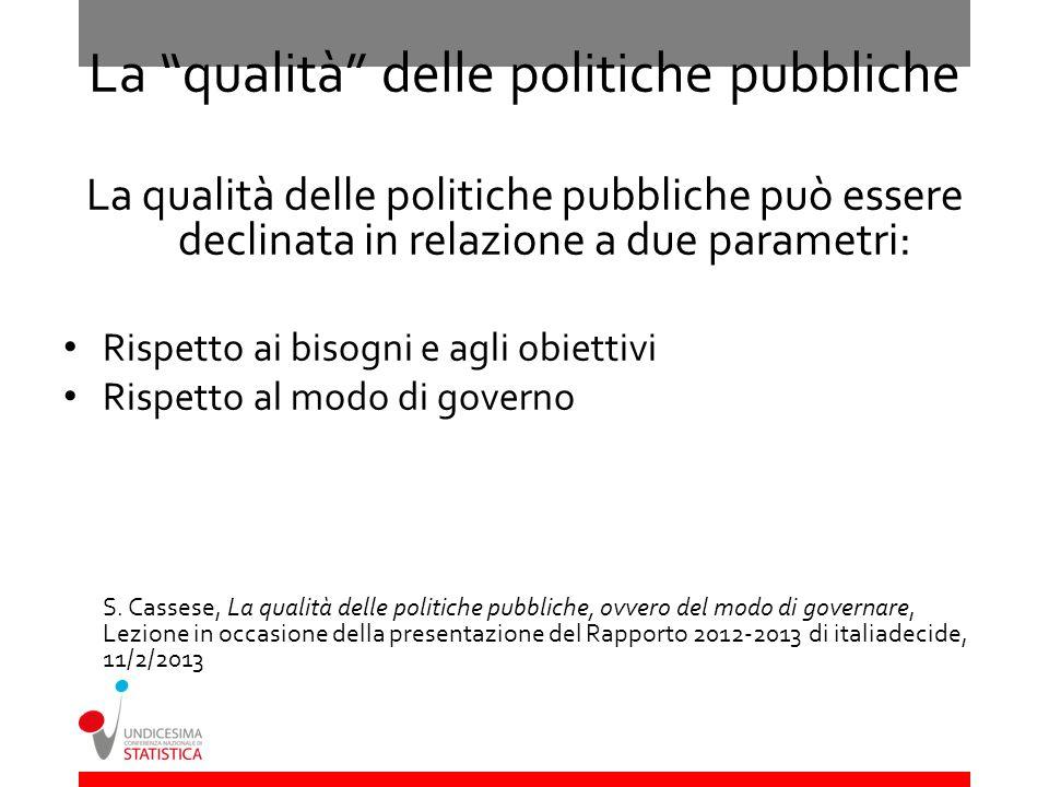 La qualità delle politiche pubbliche La qualità delle politiche pubbliche può essere declinata in relazione a due parametri: Rispetto ai bisogni e agl