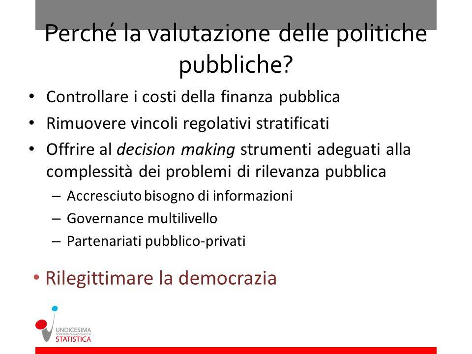 Perché la valutazione delle politiche pubbliche? Controllare i costi della finanza pubblica Rimuovere vincoli regolativi stratificati Offrire al decis